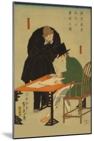 Foreigners in Yokohama Draw Up Contract in Mercantile House-Sadahide Utagawa-Mounted Art Print