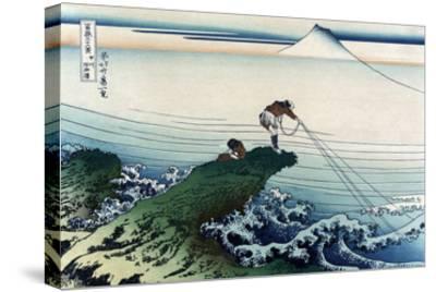 Kajikazawa in Kai Province-Katsushika Hokusai-Stretched Canvas Print