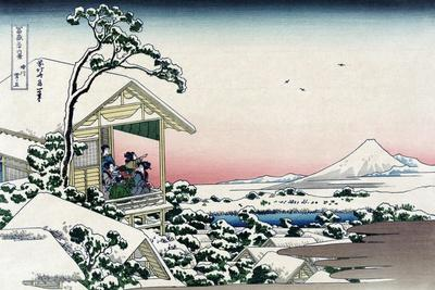 Tea House at Koishikawa-Katsushika Hokusai-Stretched Canvas Print