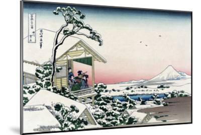 Tea House at Koishikawa-Katsushika Hokusai-Mounted Art Print