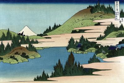 Lake of Hakone in Sagami Province-Katsushika Hokusai-Stretched Canvas Print