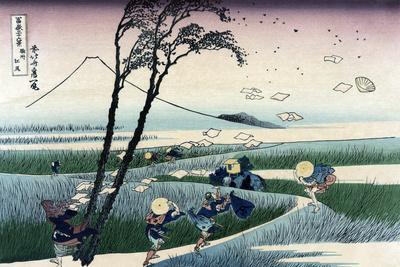 Ejiri in Suruga Province-Katsushika Hokusai-Stretched Canvas Print