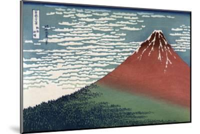 Red Fuji or South Wind, Clear Sky-Katsushika Hokusai-Mounted Art Print