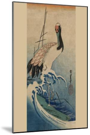 Crane in Waves-Ando Hiroshige-Mounted Art Print