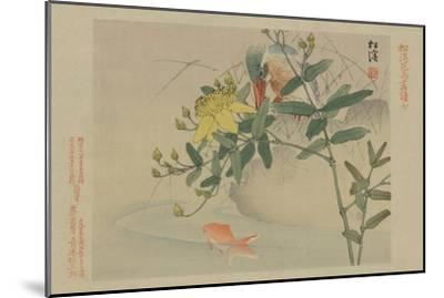 Kingfisher and Goldfish in Pond--Mounted Art Print
