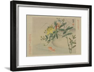 Kingfisher and Goldfish in Pond--Framed Art Print