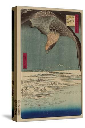 Hawk Flying Above a Snowy Landscape Along the Coastline.-Ando Hiroshige-Stretched Canvas Print