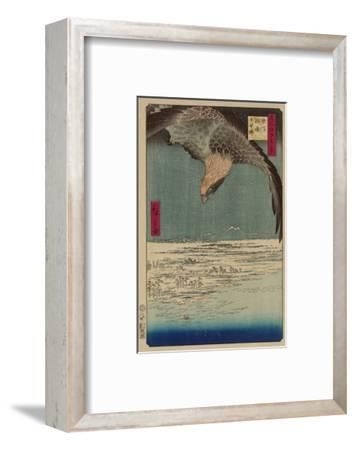 Hawk Flying Above a Snowy Landscape Along the Coastline.-Ando Hiroshige-Framed Premium Giclee Print