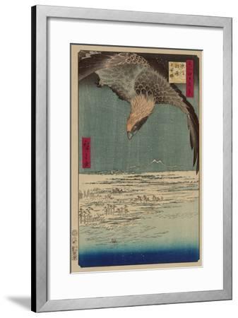 Hawk Flying Above a Snowy Landscape Along the Coastline.-Ando Hiroshige-Framed Art Print