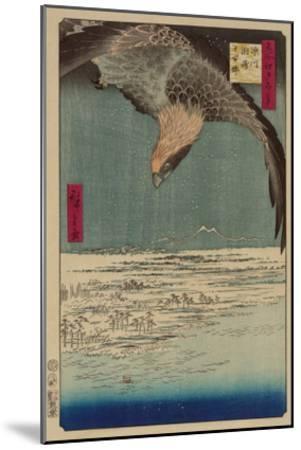 Hawk Flying Above a Snowy Landscape Along the Coastline.-Ando Hiroshige-Mounted Art Print