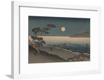 Dusk Oven and Ocean Shore with a Sole Man Carrying Buckets on the Beach--Framed Art Print