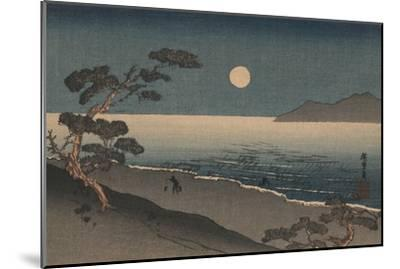 Dusk Oven and Ocean Shore with a Sole Man Carrying Buckets on the Beach--Mounted Art Print