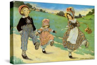 Three Children to London - One Foot Up One Foot Down-Jesse Willcox Smith-Stretched Canvas Print
