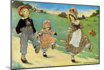 Three Children to London - One Foot Up One Foot Down-Jesse Willcox Smith-Mounted Art Print