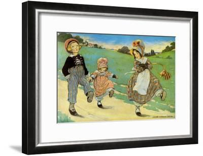 Three Children to London - One Foot Up One Foot Down-Jesse Willcox Smith-Framed Art Print