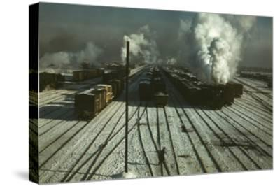 Train Yard in the Snow--Stretched Canvas Print