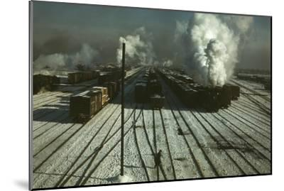 Train Yard in the Snow--Mounted Art Print