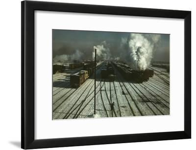 Train Yard in the Snow--Framed Art Print