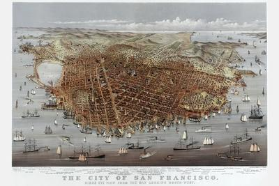 The City of San Francisco. Birds Eye View from the Bay Looking South-West-Currier & Ives-Stretched Canvas Print