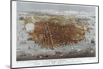 The City of San Francisco. Birds Eye View from the Bay Looking South-West-Currier & Ives-Mounted Art Print