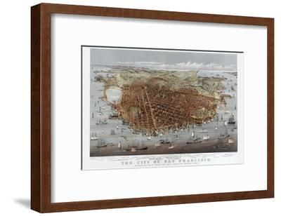 The City of San Francisco. Birds Eye View from the Bay Looking South-West-Currier & Ives-Framed Art Print