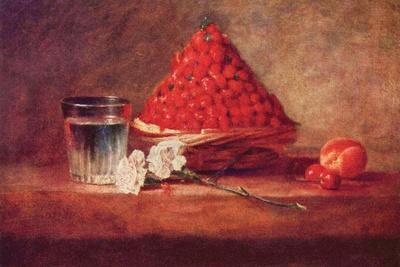 Still Life of a Strawberry Basket-Jean-Baptiste Simeon Chardin-Stretched Canvas Print