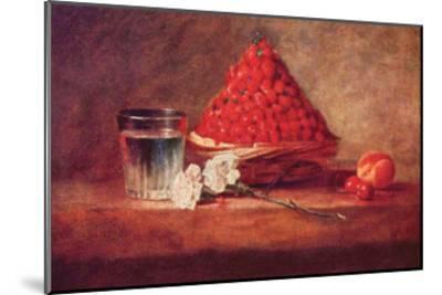 Still Life of a Strawberry Basket-Jean-Baptiste Simeon Chardin-Mounted Art Print
