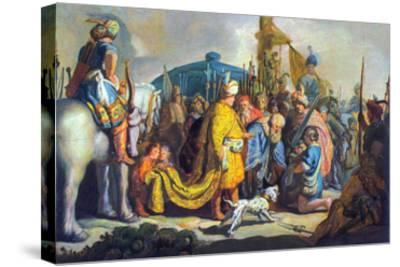 David with Goliath before Saul-Rembrandt van Rijn-Stretched Canvas Print