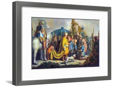 David with Goliath before Saul-Rembrandt van Rijn-Framed Art Print