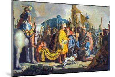 David with Goliath before Saul-Rembrandt van Rijn-Mounted Art Print