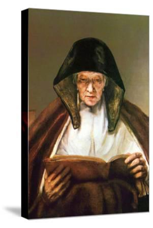 Old Woman, Reading-Rembrandt van Rijn-Stretched Canvas Print