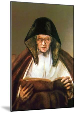 Old Woman, Reading-Rembrandt van Rijn-Mounted Art Print