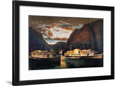Night on the Hudson, 1864-Currier & Ives-Framed Giclee Print