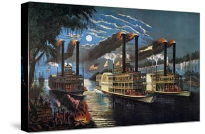 Mississippi River Race-Currier & Ives-Stretched Canvas Print
