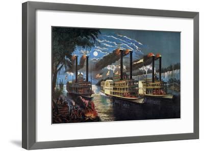 Mississippi River Race-Currier & Ives-Framed Giclee Print