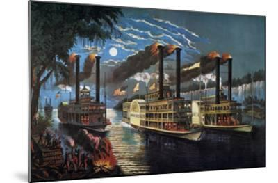 Mississippi River Race-Currier & Ives-Mounted Giclee Print