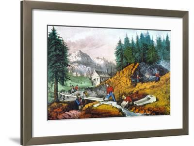 California: Gold Mining-Currier & Ives-Framed Giclee Print