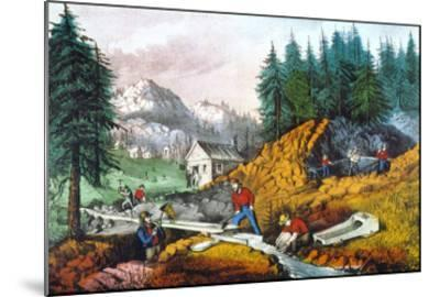 California: Gold Mining-Currier & Ives-Mounted Giclee Print