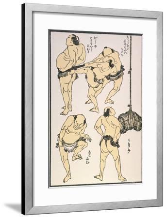 Sumo Wrestlers, 1817-Katsushika Hokusai-Framed Giclee Print