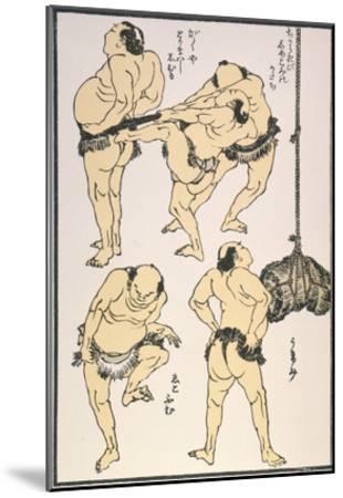 Sumo Wrestlers, 1817-Katsushika Hokusai-Mounted Giclee Print