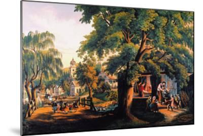 The Village Blacksmith-Currier & Ives-Mounted Giclee Print