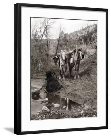 Apache and Horses, c1903-Edward S^ Curtis-Framed Giclee Print
