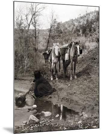 Apache and Horses, c1903-Edward S^ Curtis-Mounted Giclee Print