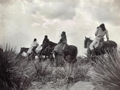 Apache on Horseback, c1906-Edward S^ Curtis-Framed Giclee Print