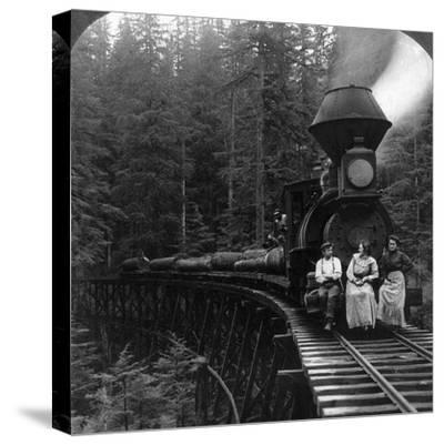 Oregon: Logging Train--Stretched Canvas Print