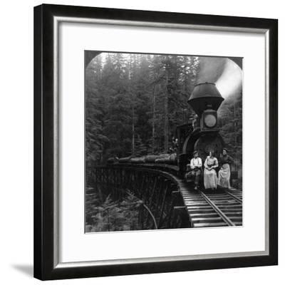 Oregon: Logging Train--Framed Giclee Print