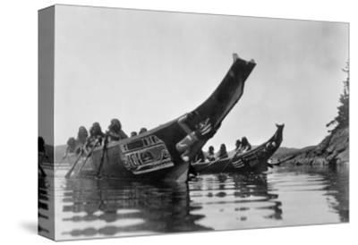 Kwakiutl Canoes, c1914-Edward S^ Curtis-Stretched Canvas Print
