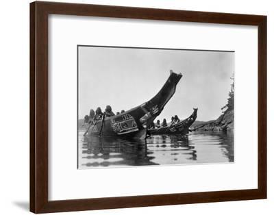 Kwakiutl Canoes, c1914-Edward S^ Curtis-Framed Giclee Print