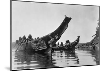 Kwakiutl Canoes, c1914-Edward S^ Curtis-Mounted Giclee Print
