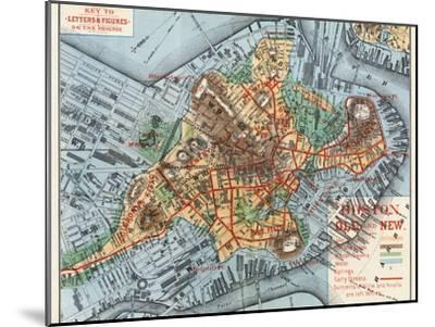 Map: Boston, c1880-Justin Winsor-Mounted Giclee Print